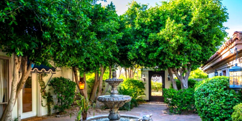 Shaded Courtyard with Large Shade Trees