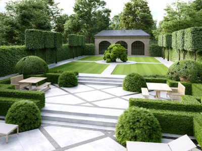 Modern courtyard with topiaries